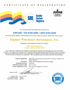 DPA ISO-9000-2008 Certificate Dated 04-19-15
