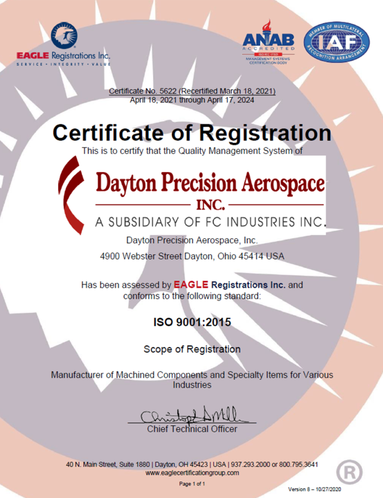 5621 Dayton Precision Aero Inc AS 9100D